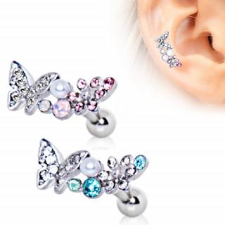 Piercing cartilage helix papillon et fleur avec perle
