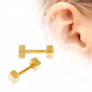 Piercing cartilage hélix plaqué or à cubes