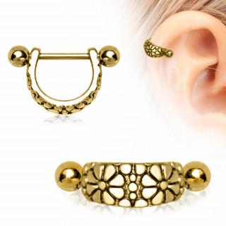 Piercing cartilage hélix plaqué or vintage en arc fleuri