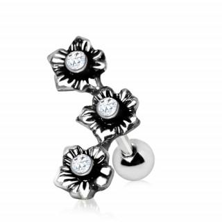 Piercing cartilage hélix vintage à fleurs avec strass