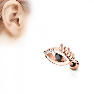 Piercing cartilage oeil à strass - Plaqué or rose