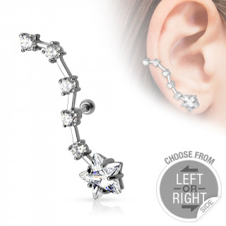 meilleures baskets fbcb3 47ddb achat Piercing cartilage oreille avec étoile suivie de 5 strass