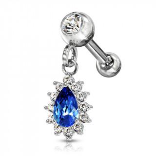Piercing cartilage oreille à pendentif soleil - Clair et bleu