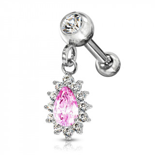 Piercing cartilage oreille à pendentif soleil - Clair et rose
