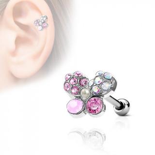 Piercing cartilage papillon à pierres et perle incrustées