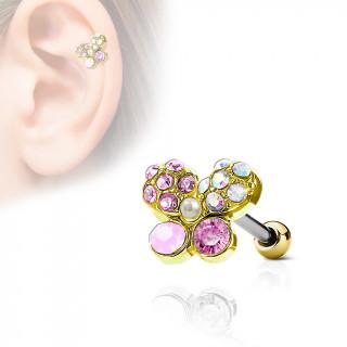 Piercing cartilage papillon à pierres et perle incrustées - Doré