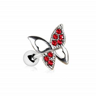 Piercing cartilage papillon à strass rouges