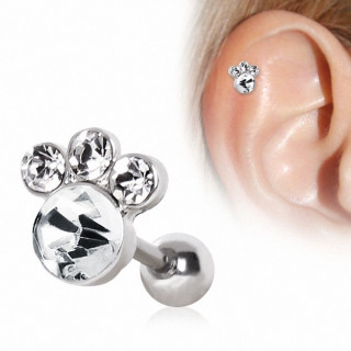 Piercing cartilage patte d'animal strass
