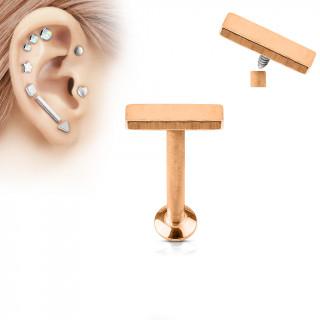 Piercing cartilage petite barre cuivrée