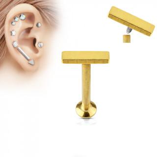 Piercing cartilage petite barre dorée