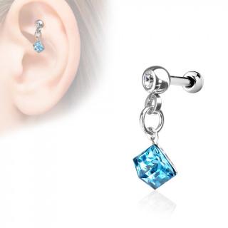 Piercing cartilage à pierre bleue suspendue