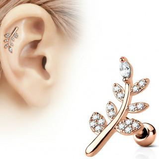 Piercing cartilage plaqué or rose à feuille strass clairs