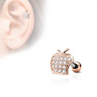 Piercing cartilage pomme strass - Cuivré