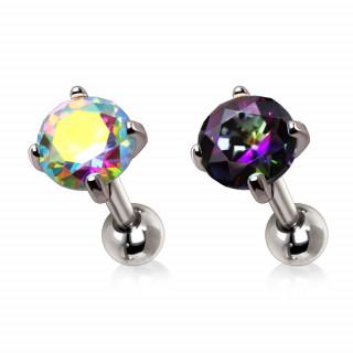 Piercing cartilage serti de pierres iridescentes