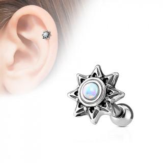 Piercing cartilage soleil tribal à Opale blanche