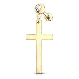 Piercing cartilage strass à pendentif croix latine - Doré