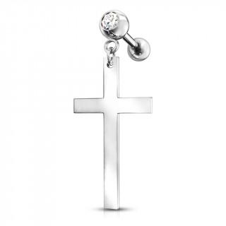Piercing cartilage strass à pendentif croix latine - Inox