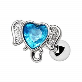 Piercing cartilage tête d'éléphant à coeur bleu