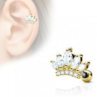 Piercing cartilage tiare princière - Doré