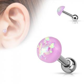Piercing cartilage tragus helix à dôme d'opale poupre pailleté