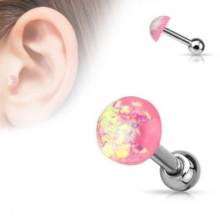 Piercing cartilage tragus helix à dôme d'opale rose pailleté