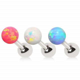 Piercing cartilage tragus hélix à perle d'opale synthétique