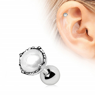 achat piercing cartilage tragus h lix argent perle blanche. Black Bedroom Furniture Sets. Home Design Ideas