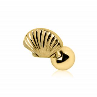 Piercing cartilage tragus hélix doré à coquillage style St Jacques