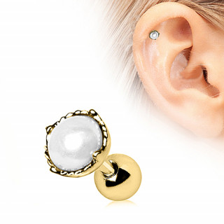 Piercing cartilage tragus hélix doré à perle blanche