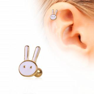 Piercing cartilage tragus hélix doré à tête de lapin