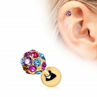 Piercing cartilage tragus hélix doré à boule de strass multicolores