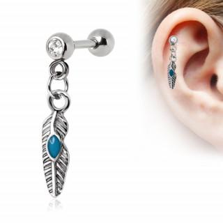 Piercing cartilage tragus hélix à plume style amérindien