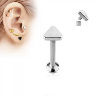 Piercing cartilage labret triangle argenté