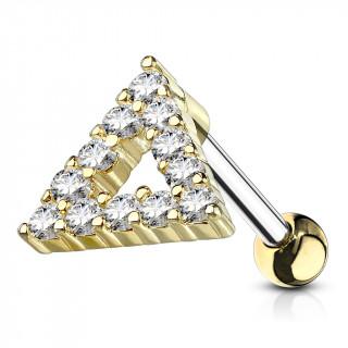 Piercing cartilage à triangle ouvert doré pavé de strass