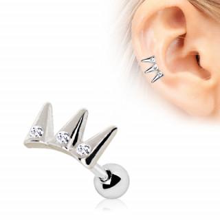 Piercing cartilage triple pique strass