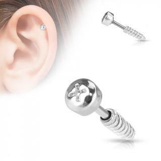 Piercing cartilage vis cruciforme grise