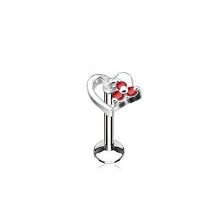 Piercing coeur à petite fleur strass (lèvre, cartilage) - Rouge
