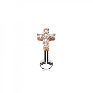 Piercing croix latine cuivrée pavée de strass (lèvre, cartilage)