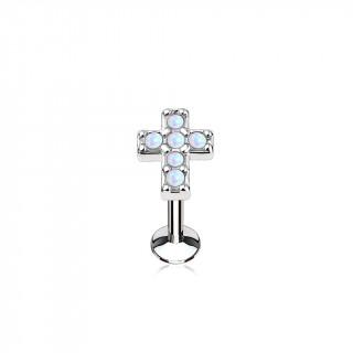 Piercing croix latine pavée d'opales blanches (lèvre, cartilage)