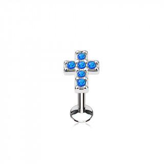 Piercing croix latine pavée d'opales bleues (lèvre, cartilage)