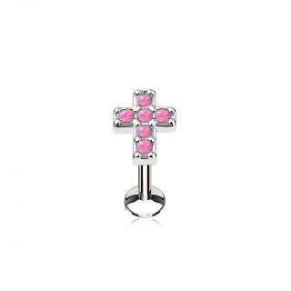 Piercing croix latine pavée d'opales roses (lèvre, cartilage)