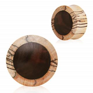Piercing écarteur plug en bois de crocodile et ébène