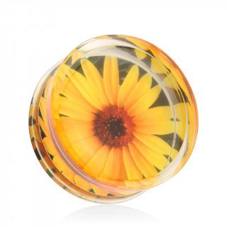 Piercing écarteur plug transparent avec fleur de tournesol