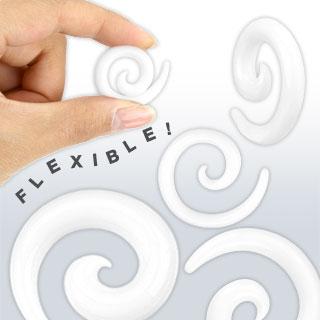 Piercing écarteur spirale en silicone flexible blanc