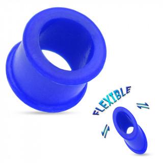 Piercing écarteur tunnel silicone ultra flexible bleu