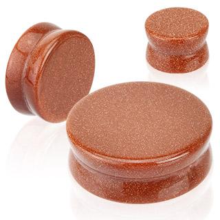 Piercing écarteur type plug en pierre Gold Sandstone
