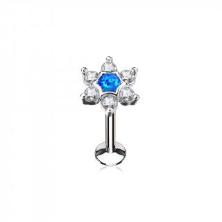 Piercing étoile strass et opale bleue (lèvre, cartilage)