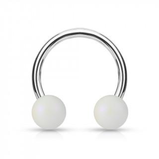 Piercing fer à cheval à perles blanc mat