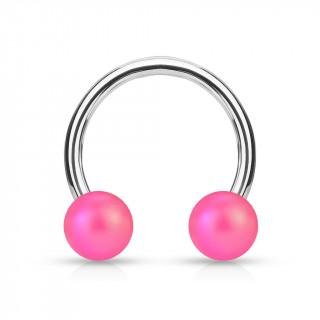 Piercing fer à cheval à perles rose mat