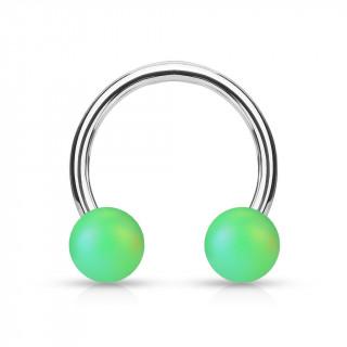 Piercing fer à cheval à perles vert mat